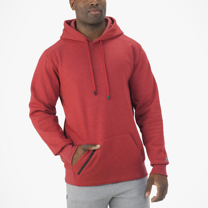 Men's Cotton Rich Fleece Hoodie RED HEATHER