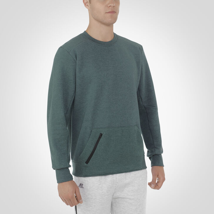Men's Cotton Rich Fleece Crew Sweatshirt GREEN HEATHER