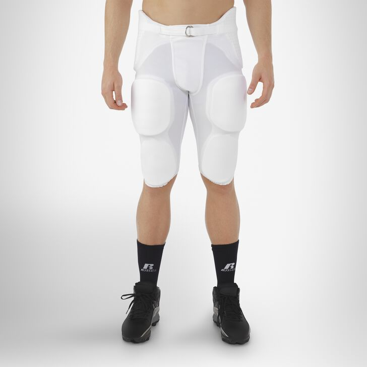 Men's Integrated 7-Piece-Pad Football Pants WHITE