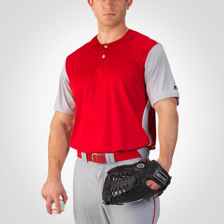 Men's Dri-Power® Colorblock Baseball Jersey TRUE RED/BASEBALL GREY