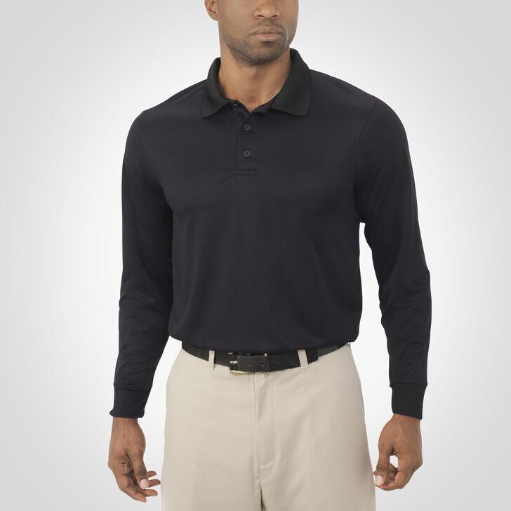 Men's Dri-Power® Essential Long Sleeve Polo BLACK