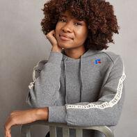 Women's Heritage Cropped Twill Tape Fleece Hoodie Grey Marl