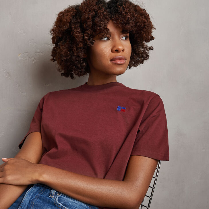 Women's Heritage Cropped Baseliner T-Shirt Burgundy