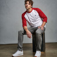Men's Cotton Classic Pinstripe Baseball T-Shirt CARDINAL