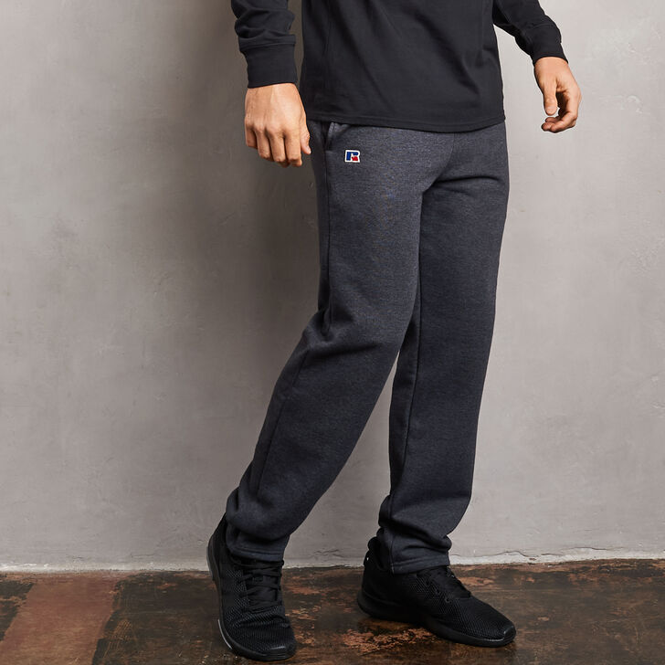 Men's Cotton Classic Open Bottom Fleece Sweatpants BLACK HEATHER