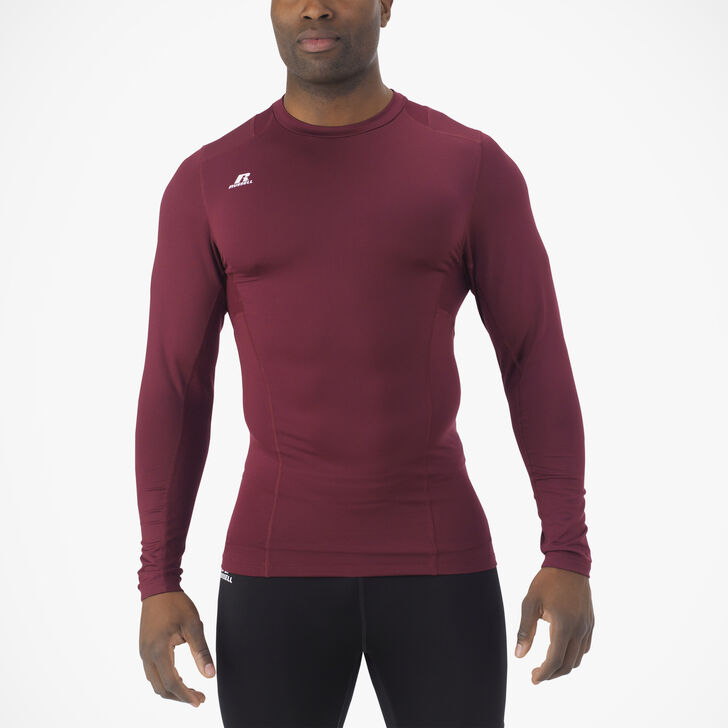 Men's Dri-Power® Tight-Fit Cold Weather Long Sleeve Crew MAROON