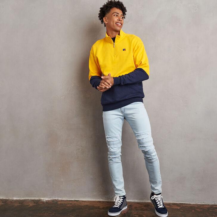 Men's Heritage Drop Shoulder Color Block Fleece 1/4 Zip GOLD FUSION