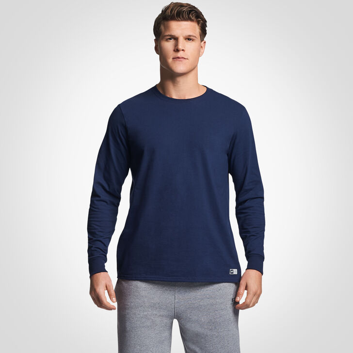 Men's Cotton Performance Long Sleeve Tee NAVY