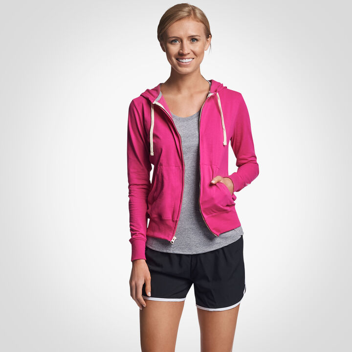 Women's Cotton Performance Lightweight Full Zip Hoodie VERY BERRY