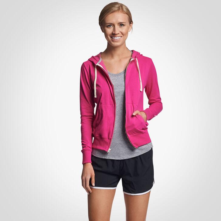 Women's Cotton Performance Lightweight Full Zip Hoodie VERY BERRY