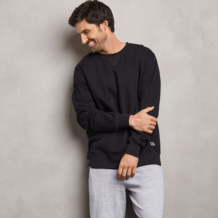 Men's Cotton Classic Fleece Crew Sweatshirt BLACK