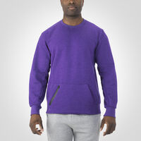 Men's Cotton Rich Fleece Crew Sweatshirt PURPLE HEATHER