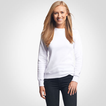 Women's Lightweight Fleece Crew Sweatshirt WHITE