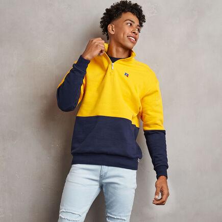 Men's Heritage Drop Shoulder Color Block Fleece 1/4 Zip