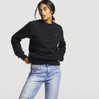 Women's Heritage Oversized Fleece Crew Sweatshirt BLACK