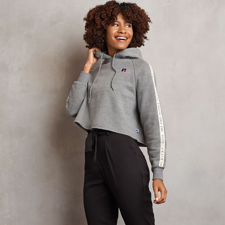 Women's Heritage Cropped Twill Tape Fleece Hoodie Grey Marl
