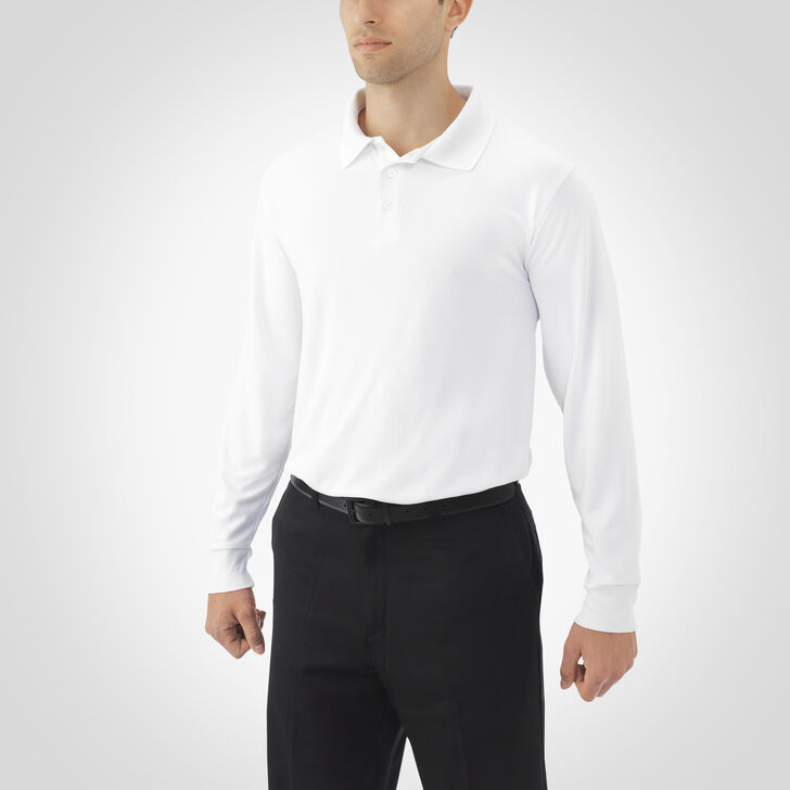 Men's Dri-Power® Essential Long Sleeve Polo WHITE