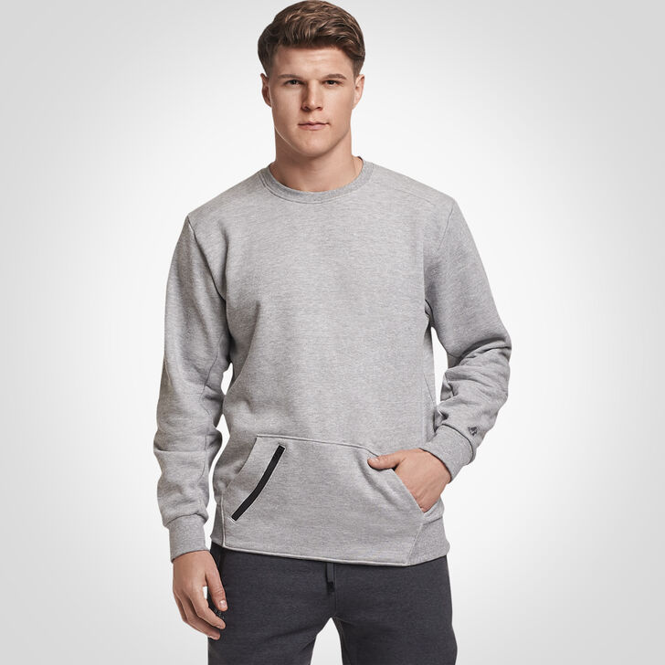 Men's Cotton Rich Fleece Crew Sweatshirt MEDIUM GREY HEATHER