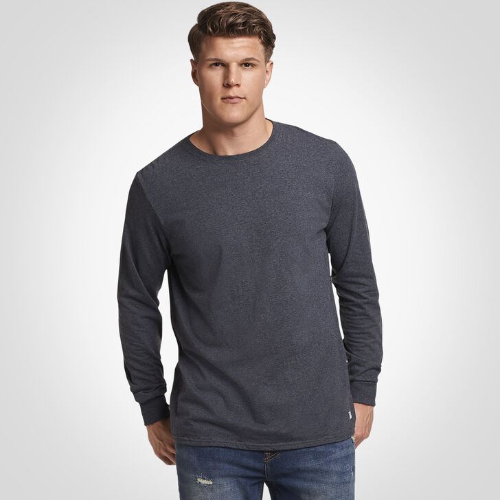 Men's Cotton Performance Long Sleeve Tee BLACK HEATHER
