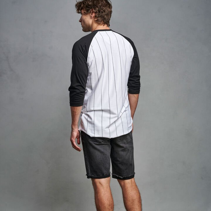 Men's Cotton Classic Pinstripe Baseball T-Shirt BLACK
