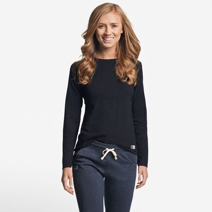 Women's Cotton Performance Long Sleeve Tee BLACK