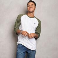 Men's Cotton Classic Pinstripe Baseball T-Shirt OLIVE
