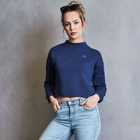 Women's Heritage Mid-Crop Twill Tape Fleece Sweatshirt NAVY