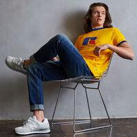 Men's Heritage Puff Print Graphic Ringer T-Shirt GOLD FUSION