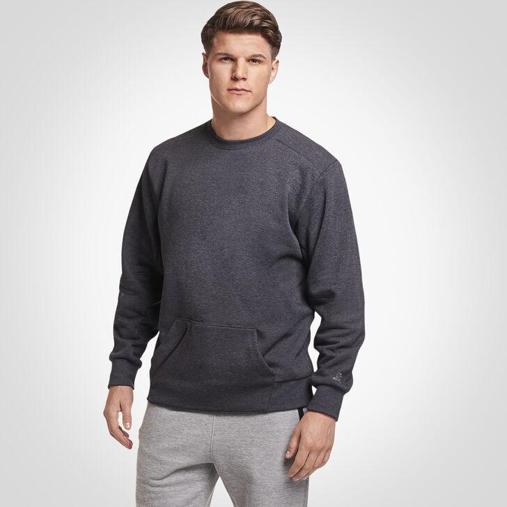 Men's Cotton Rich Fleece Crew Sweatshirt CHARCOAL GREY HEATHER