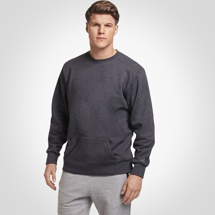 Men's Cotton Rich Fleece Crew Sweatshirt CHARCOAL GREY HEATHER