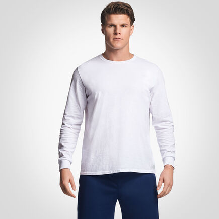 Men's Cotton Performance Long Sleeve T-Shirt WHITE
