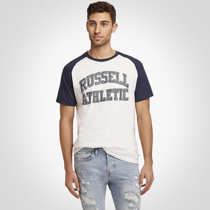 Men's Heritage Raglan Color Block Arch Graphic T-Shirt NAVY