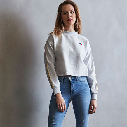 ff3586b39063ea Women's Heritage Mid-Crop Twill Tape Fleece Sweatshirt BLEACHED MARL