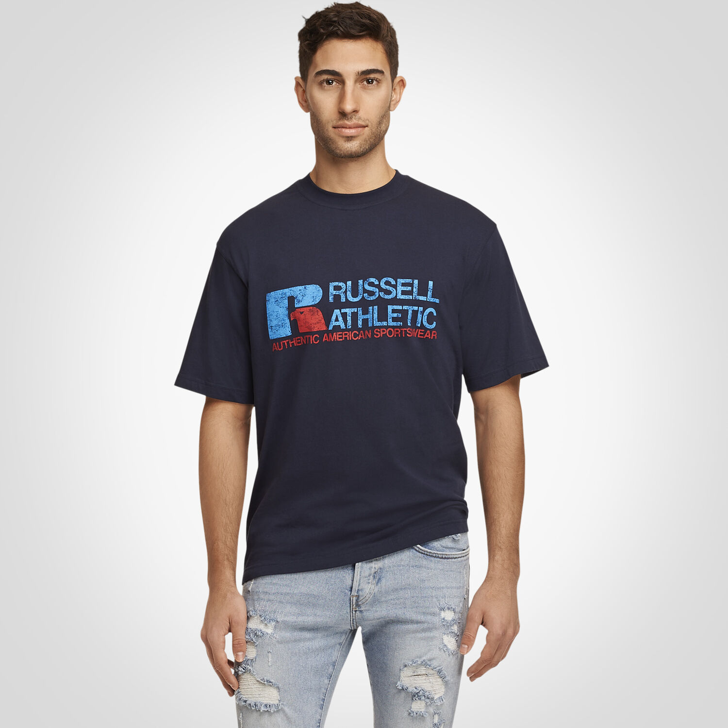 9af79e59591ac Men s Heritage Distressed Graphic T-Shirt NAVY