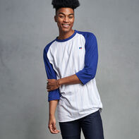Men's Cotton Classic Pinstripe Baseball T-Shirt ROYAL