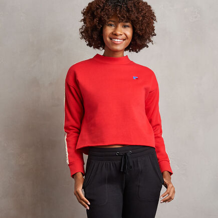 Women's Heritage Mid-Crop Twill Tape Fleece Sweatshirt TRUE RED