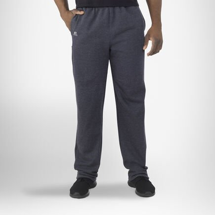 Men's Cotton Rich Open-Bottom Sweatpants with Pockets CHARCOAL GREY HEATHER