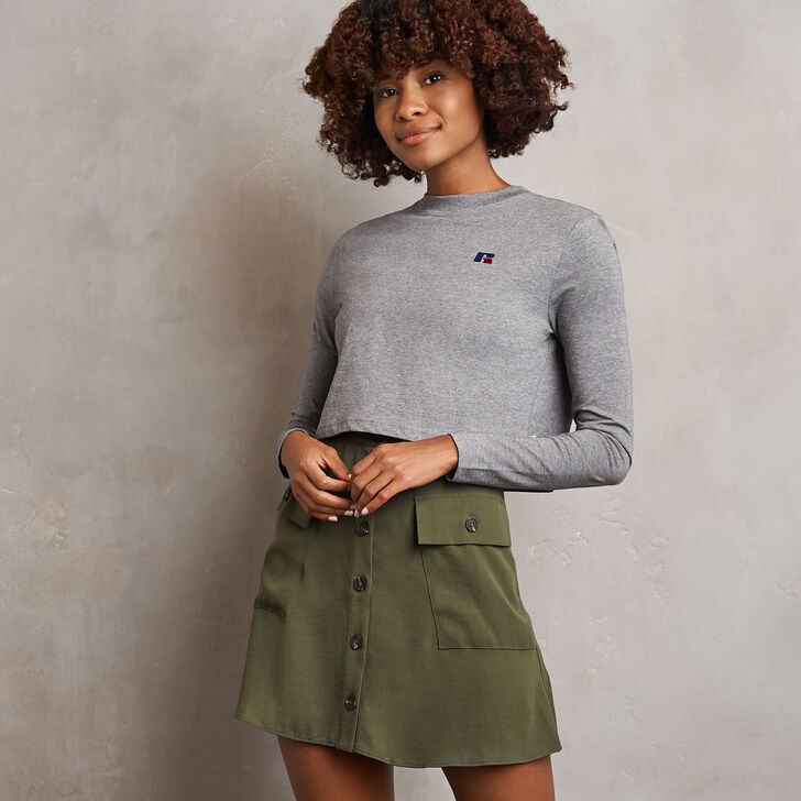 Women's Heritage Cropped Baseliner Long Sleeve T-Shirt Grey Marl