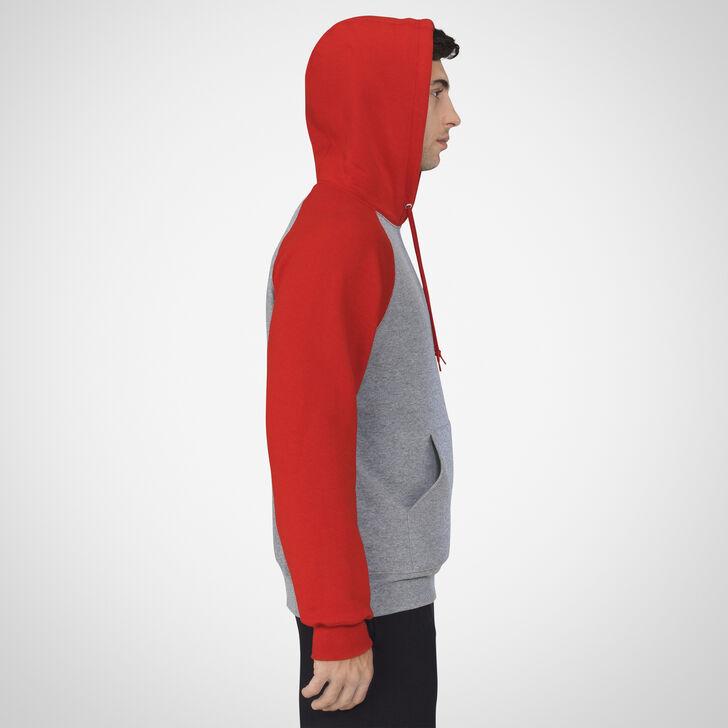 Men's Dri-Power® Fleece Colorblock Hoodie OXFORD/TRUE RED