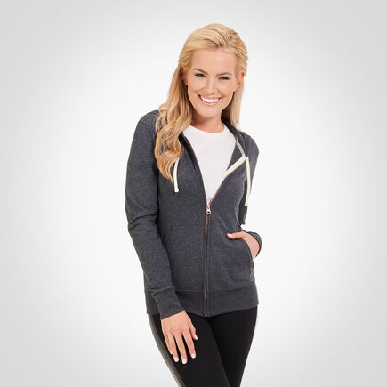 Women's Essential Lightweight Full Zip Hoodie BLACK HEATHER