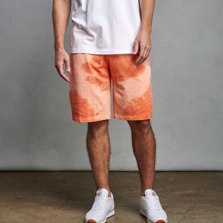 Men's Heritage Tie Dye French Terry Fleece Shorts ORANGE