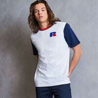 Men's Heritage Color Block Chenille Badge T-Shirt WHITE