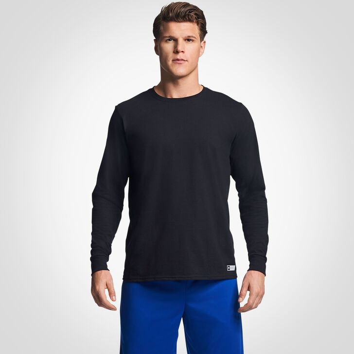 Men's Cotton Performance Long Sleeve Tee BLACK