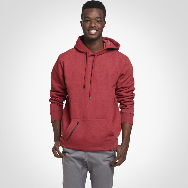 Men's Cotton Rich Fleece Hoodie RED HEATHER
