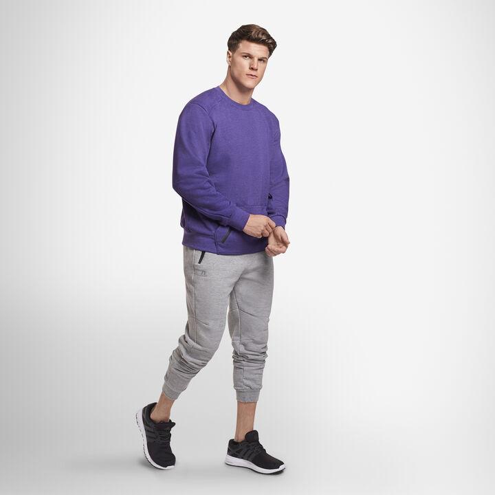 Men's Cotton Rich Fleece Crew Sweatshirt PURPLE HEATHER
