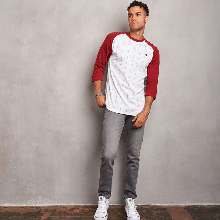 Men's Cotton Classic Pinstripe Baseball T-Shirt CARDINAL