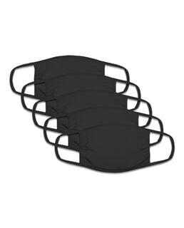 Kid's Reusable Cotton Face Mask Non-Medical, 5 Pack Black
