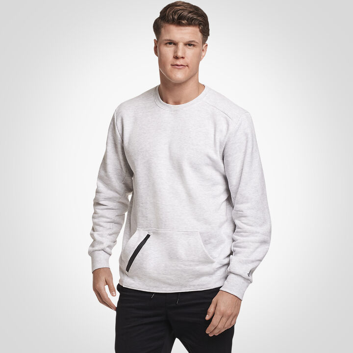 Men's Cotton Rich Fleece Crew Sweatshirt ASH
