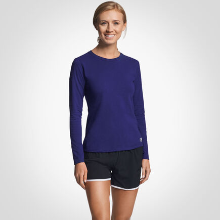 Women's Cotton Performance Long Sleeve T-Shirt PURPLE