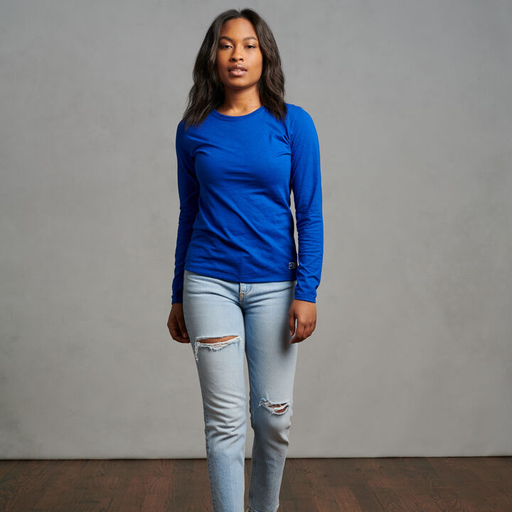 Women's Cotton Performance Long Sleeve T-Shirt Royal